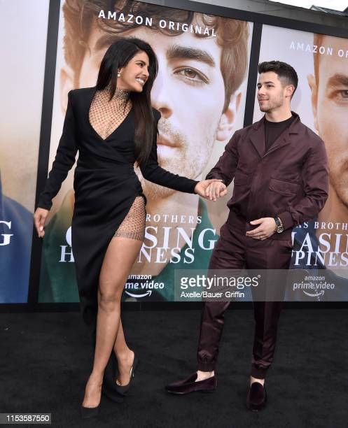 """Priyanka Chopra and Nick Jonas attend the premiere of Amazon Prime Video's """"Chasing Happiness"""" at Regency Bruin Theatre on June 03, 2019 in Los..."""