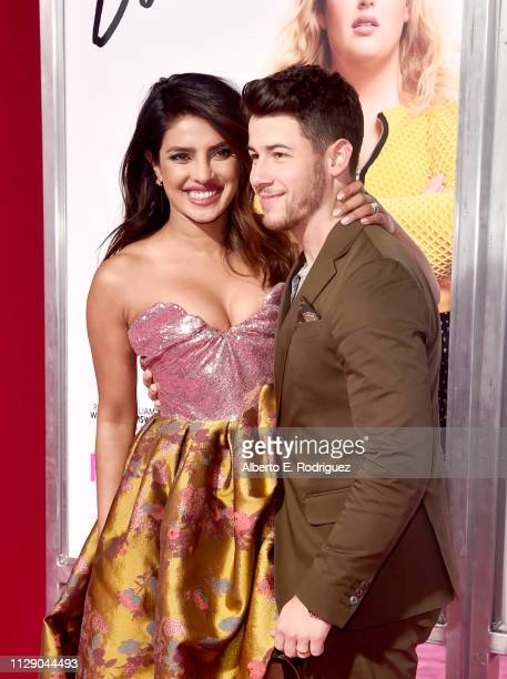 Priyanka Chopra and Nick Jonas attend the premiere of Warner Bros Pictures' Isn't It Romantic at The Theatre at Ace Hotel on February 11 2019 in Los...