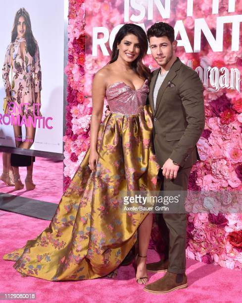 Priyanka Chopra and Nick Jonas attend the premiere of Warner Bros. Pictures' 'Isn't It Romantic' at The Theatre at Ace Hotel on February 11, 2019 in...