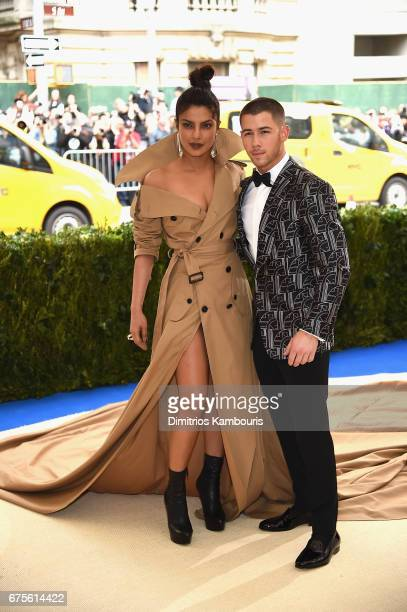 Priyanka Chopra and Nick Jonas attend the Rei Kawakubo/Comme des Garcons Art Of The InBetween Costume Institute Gala at Metropolitan Museum of Art on...