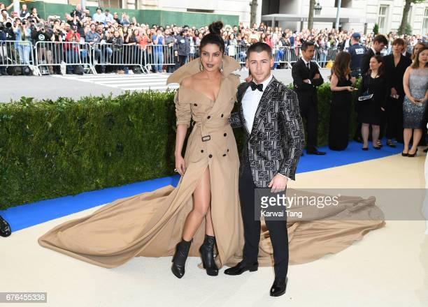 Priyanka Chopra and Nick Jonas attend the Rei Kawakubo/Comme des Garcons Art Of The InBetween Costume Institute Gala at the Metropolitan Museum of...