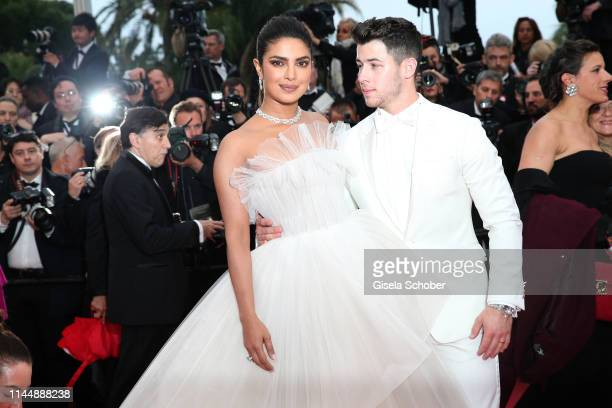 Priyanka Chopra and Nick Jonas attend the screening of Les Plus Belles Annees D'Une Vie during the 72nd annual Cannes Film Festival on May 18 2019 in...