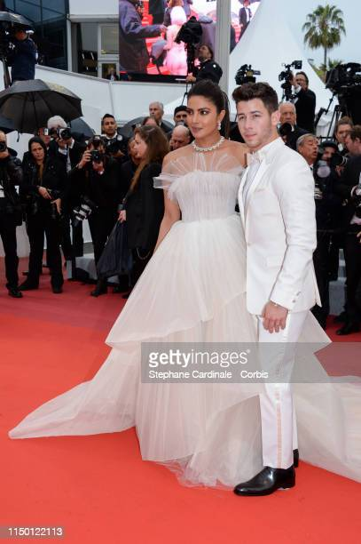 """Priyanka Chopra and Nick Jonas attend the screening of """"Les Plus Belles Annees D'Une Vie"""" during the 72nd annual Cannes Film Festival on May 18, 2019..."""