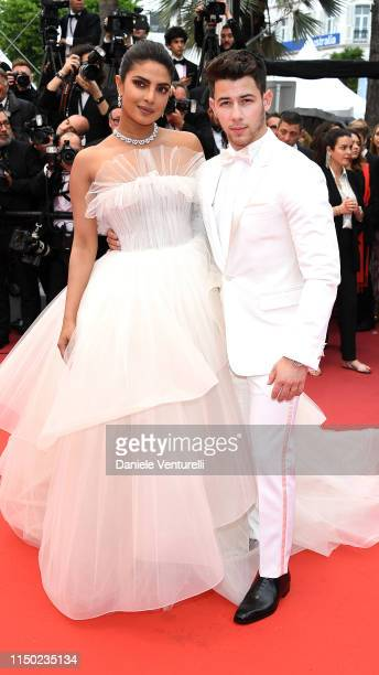 "Priyanka Chopra and Nick Jonas attend the screening of ""Les Plus Belles Annees D'Une Vie"" during the 72nd annual Cannes Film Festival on May 18, 2019..."
