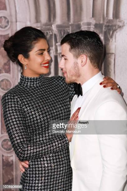 Priyanka Chopra and Nick Jonas during the Ralph Lauren 50th Anniversary September 2018 New York Fashion Week at Bethesda Terrace on September 7 2018...