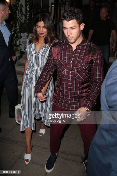 Priyanka Chopra and Nick Jonas seen on a night out at 34 restaurant in Mayfair on July 16 2018 in London England