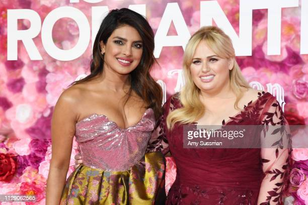 Priyanka Chopra and Rebel Wilson attend the premiere of Isn't It Romantic at The Theatre at Ace Hotel on February 11, 2019 in Los Angeles, California.