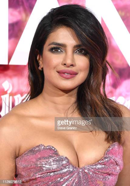 "Priyanka Chopra arrives at the Premiere Of Warner Bros. Pictures' ""Isn't It Romantic"" at The Theatre at Ace Hotel on February 11, 2019 in Los..."