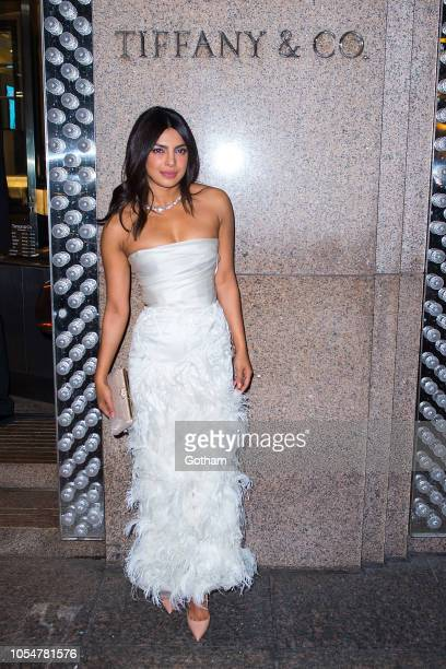 Priyanka Chopra arrives for her bridal shower at Tiffany's Blue Box Cafe in Midtown on October 28 2018 in New York City