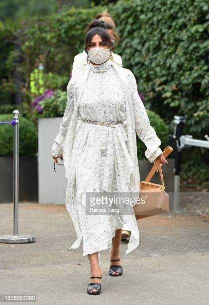 Priyanka Chopra attends day 12 of the Wimbledon Tennis Championships at the All England Lawn Tennis and Croquet Club on July 10, 2021 in London,...
