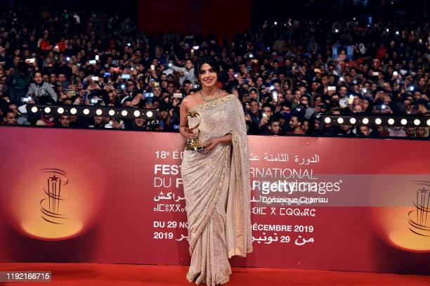 Priyanka Chopra attends her tribute at Jemaa El Fna Place during the 18th Marrakech International Film Festival Day Seven on December 05 2019 in...