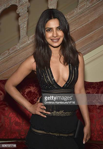 Priyanka Chopra attends the Bloomberg Vanity Fair cocktail reception following the 2015 WHCA Dinner at the residence of the French Ambassador on...