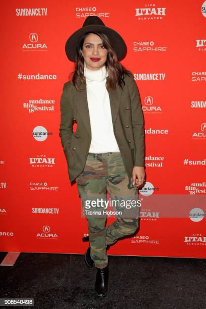 Priyanka Chopra attends the 'Burden The Park' Premiere during the 2018 Sundance Film Festival at Park City Library on January 21 2018 in Park City...