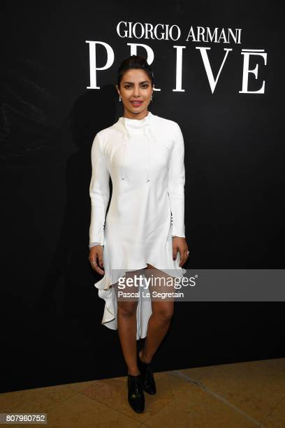 Priyanka Chopra attends the Giorgio Armani Prive Haute Couture Fall/Winter 20172018 show as part of Haute Couture Paris Fashion Week on July 4 2017...