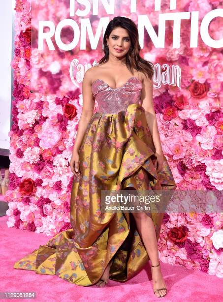 Priyanka Chopra attends the premiere of Warner Bros. Pictures' 'Isn't It Romantic' at The Theatre at Ace Hotel on February 11, 2019 in Los Angeles,...