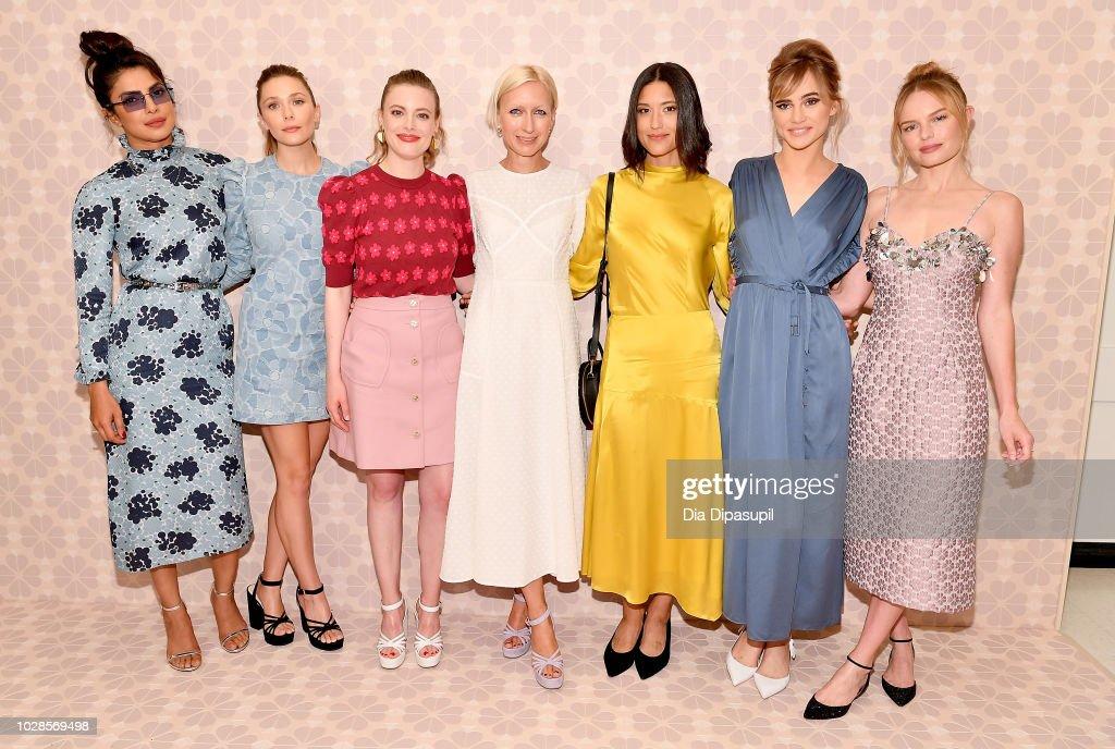Priyanka Chopra, Elizabeth Olsen, Gillian Jacobs, Nicola Glass, Julia Jones, Suki Waterhouse and Kate Bosworth attend the Kate Spade New York Fashion Show during New York Fashion Week at New York Public Library on September 7, 2018 in New York City.