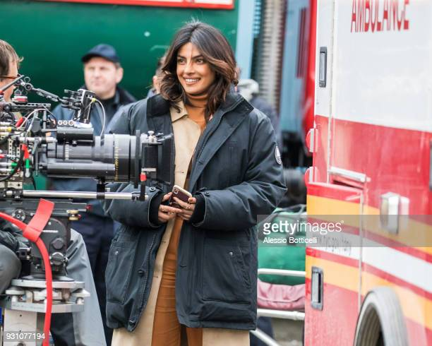 Priyanka Chopra is seen filming 'Quantico' on March 12 2018 in New York City