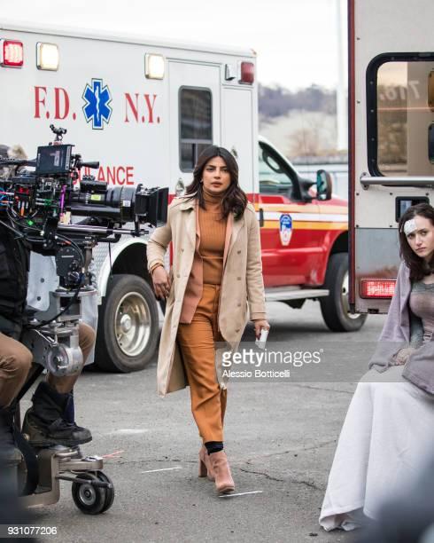 Priyanka Chopra is seen filming 'Quantico' on March 12 2018 in New York City