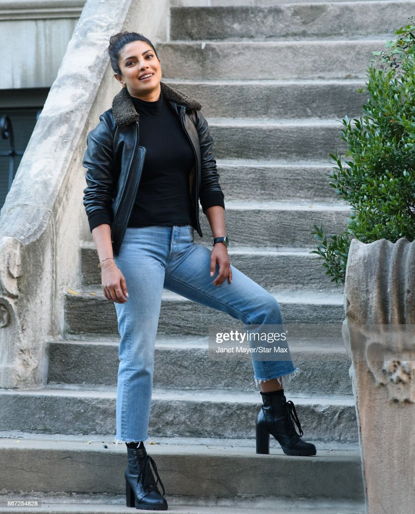 Priyanka Chopra is seen on October 27, 2017 on the set of 'Quantico' on in New York City.