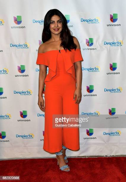 Priyanka Chopra is seen on the set of 'Despierta America' to promote the film 'Baywatch' at Univision Studios on May 12 2017 in Miami Florida