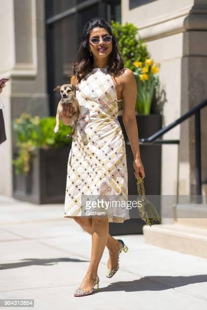 Priyanka Chopra is seen wearing a Bottega Veneta dress with Christian Louboutin shoes in Chelsea on May 3 2018 in New York City