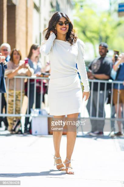Priyanka Chopra is seen wearing an Isabel Marant dress Off White shoes with a Jacquemus handbag in the Upper West Side on May 3 2018 in New York City