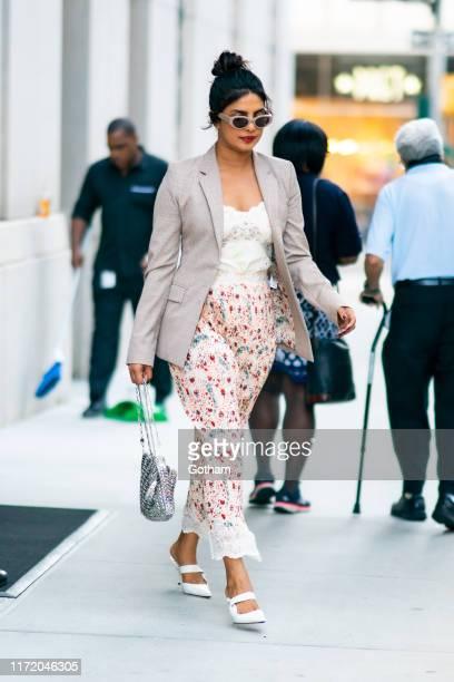 Priyanka Chopra is seen wearing Paco Rabanne in the Tribeca on September 03 2019 in New York City