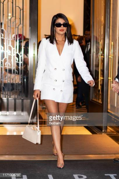 Priyanka Chopra is seen wearing Reformation in Tribeca on August 29, 2019 in New York City.