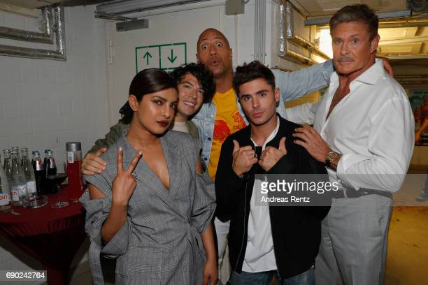 Priyanka Chopra John Bass Dwayne Johnson Zac Efron and David Hasselhoff attend the European premiere of 'Baywatch' at Cinestar on May 30 2017 in...