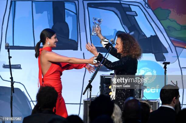 Priyanka Chopra Jonas and Diane von Furstenberg on stage during the 15th Annual UNICEF Snowflake Ball 2019 at Cipriani Wall Street on December 03,...