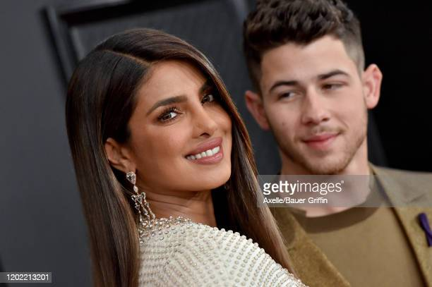 Priyanka Chopra Jonas and Nick Jonas attend the 62nd Annual GRAMMY Awards at Staples Center on January 26, 2020 in Los Angeles, California.