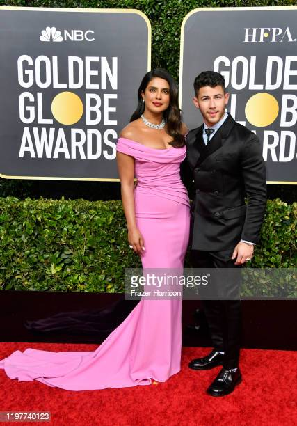 Priyanka Chopra Jonas and Nick Jonas attend the 77th Annual Golden Globe Awards at The Beverly Hilton Hotel on January 05 2020 in Beverly Hills...