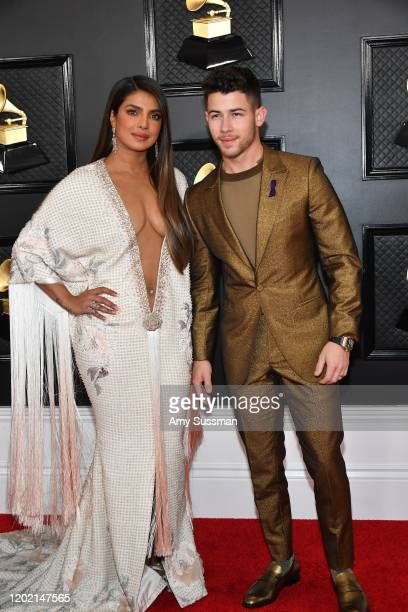 Priyanka Chopra Jonas and Nick Jonas attends the 62nd Annual GRAMMY Awards at Staples Center on January 26, 2020 in Los Angeles, California.