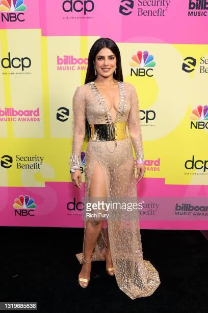 Priyanka Chopra Jonas poses backstage for the 2021 Billboard Music Awards, broadcast on May 23, 2021 at Microsoft Theater in Los Angeles, California.