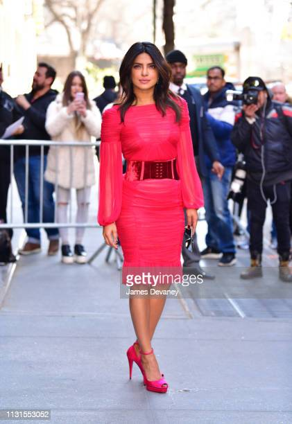 Priyanka Chopra leaves ABC's 'The View' at ABC Studios on March 19, 2019 in New York City.