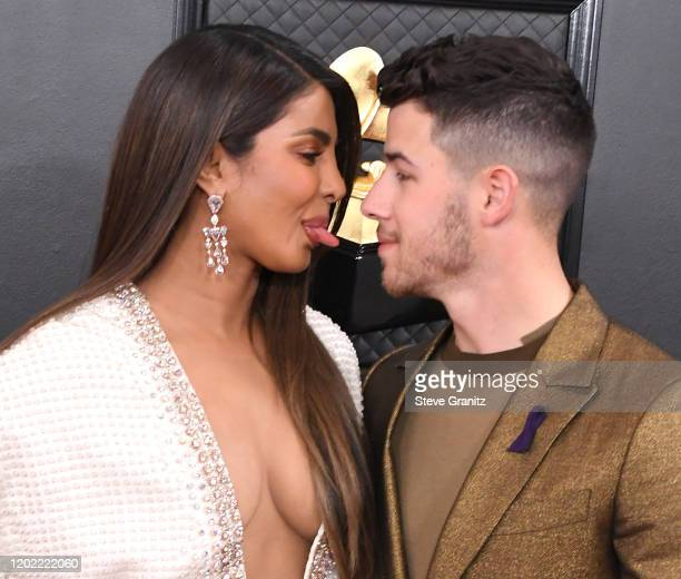 Priyanka Chopra Nick Jonas arrives at the 62nd Annual GRAMMY Awards at Staples Center on January 26, 2020 in Los Angeles, California.