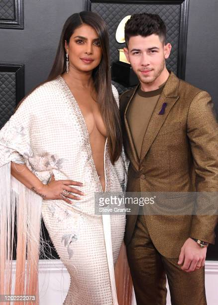 Priyanka Chopra Nick Jonas arrives at the 62nd Annual GRAMMY Awards at Staples Center on January 26 2020 in Los Angeles California