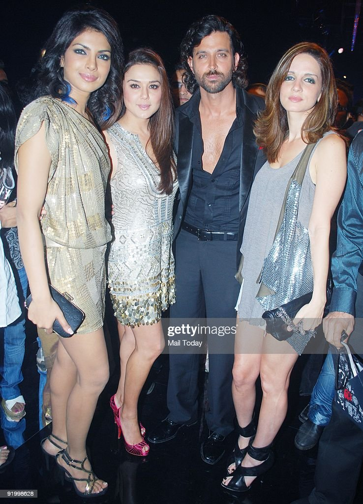 Priyanka Chopra Preity Zinta Hrithik and Suzanne Roshan at the last day of the HDIL India Couture Week in Mumbai on Friday October 16 2009