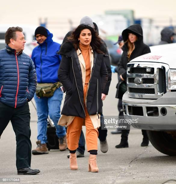 Priyanka Chopra seen on location for 'Quantico' in Brooklyn on March 12 2018 in New York City