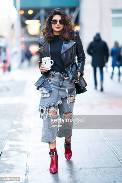 Priyanka Chopra seen wearing a McQueen jacket Fleur de Mal shirt R13 jeans and Rag Bone shoes in Tribecca on January 9 2018 in New York City