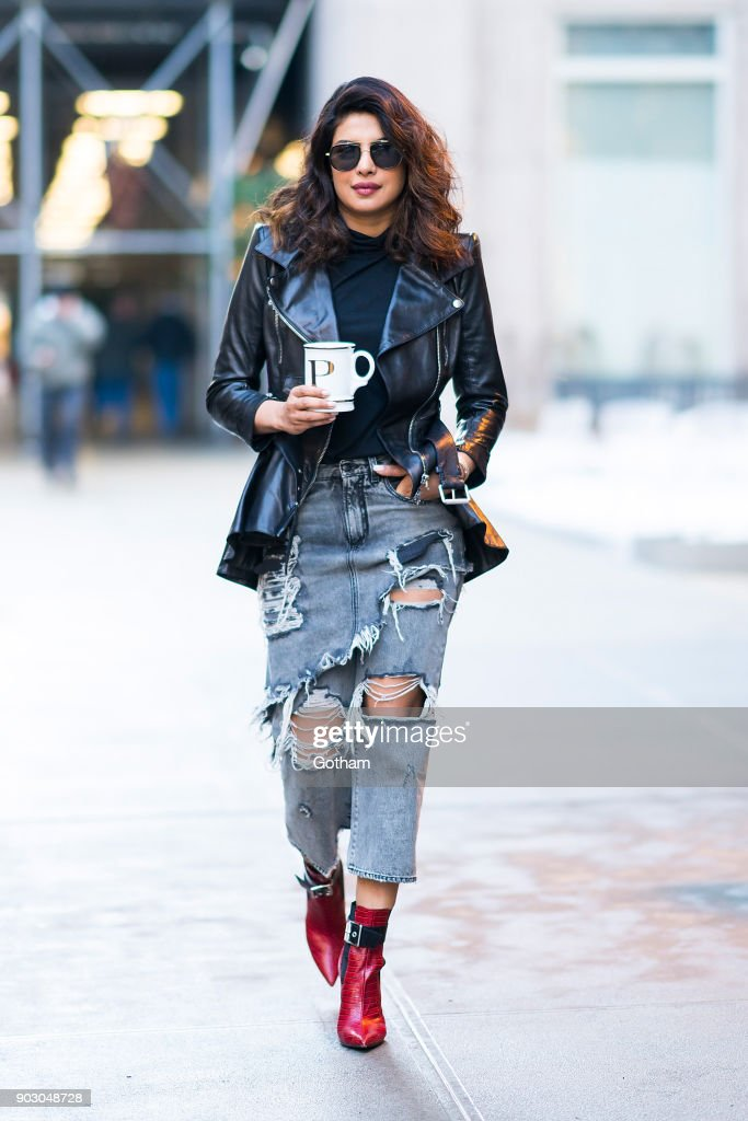 Priyanka Chopra seen wearing a McQueen jacket, Fleur de Mal shirt, R13 jeans and Rag & Bone shoes in Tribecca on January 9, 2018 in New York City.