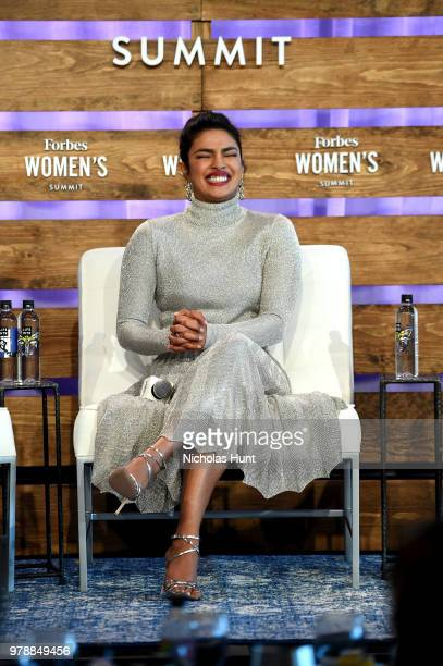 Priyanka Chopra speaks onstage during 'Breaking Barriers Engaging Billions Panel' at the 2018 Forbes Women's Summit at Pier Sixty at Chelsea Piers on...