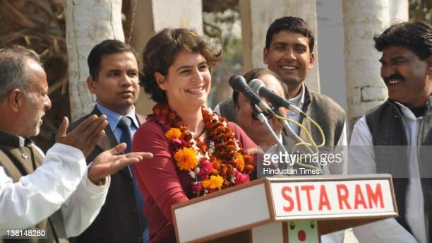 Priyanka Gandhi daughter of Congress President Sonia Gandhi addressing a public meeting at Pindara village on February 3 2012 in Amethi India At the...