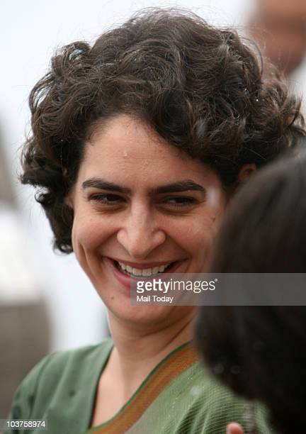 Priyanka Gandhi during the distribution of motorized triwheelers to disabled persons on the occasion of 66th birth anniversary of former Prime...