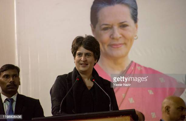 Priyanka Gandhi, general secretary of the Indian National Congress speaks during electioneering on February 5, 2020 in Delhi, India. The National...