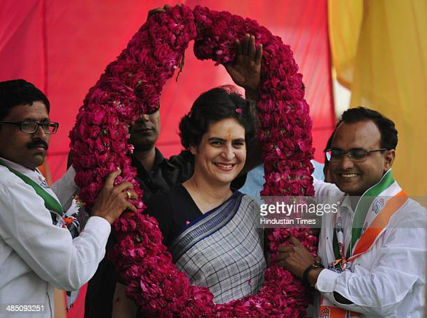 Priyanka Gandhi Vadra during public meeting for giving final touch to poll campaign of her mother and Congress President Sonia Gandhi on April 16...