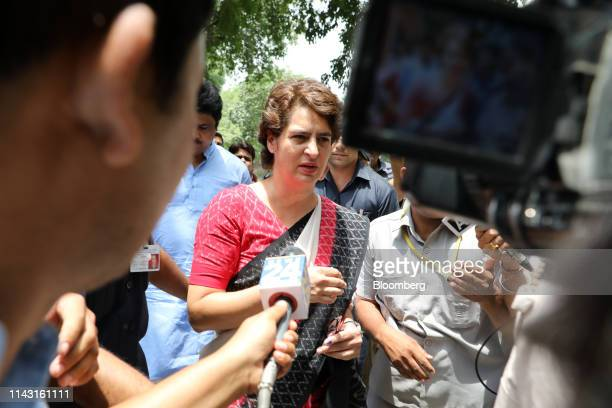 Priyanka Gandhi Vadra general secretary of the Congress party arrives at a polling station to cast her vote during the sixth phase of voting for...