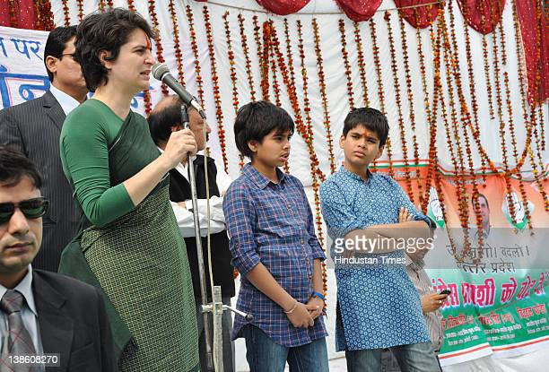 Priyanka Gandhi Vadra, her son Raihan and daughter Miraya attend an election rally on February 9, 2012 in Rae Barelly, India. For the older...