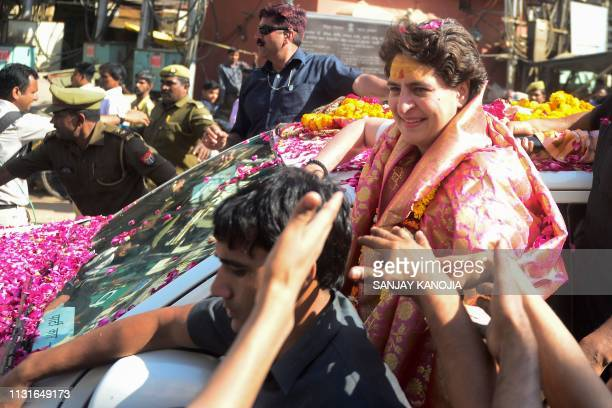 Priyanka Gandhi Vadra , Indian political leader and the Congress party's general secretary for eastern Uttar Pradesh, smiles as she appears for...
