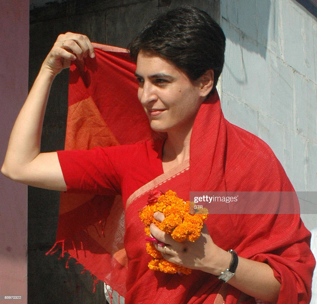 Priyanka Gandhi Vadra smiles as she leav : News Photo
